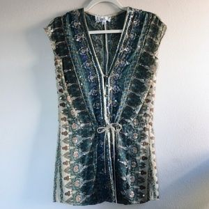 Anthropologie B. Vintage Sleeveless Beaded Tunic